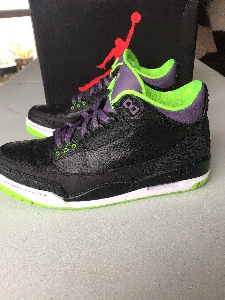 big sale a9fa3 558a7 Nike Air Jordan 3 iii Retro Joker - Black Green Purple Trainers size UK 9 |  in Splott, Cardiff | Gumtree