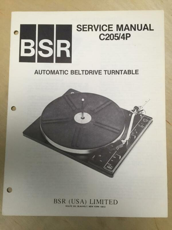 BSR Service & User Manual for the C205 C205-4P Turntable Record Changer