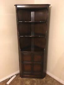 Ercol solid wood Corner Unit - Display Cabinet dark brown