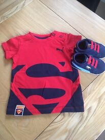 Puma suede pram shoes UK size 1 and T-shirt 2-4 months