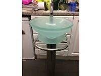 Bathroom sink, glass bowl shape with stainless steel pedestal and tap £45