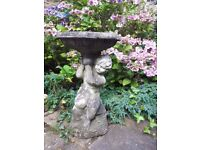 French Vintage Antique Garden Bird Bath Table Fountain Traditional Composite Stone Cherub Outdoor