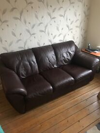 2 dark brown leather sofas