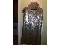 River Island Gold sequined tunic style dress - size 10