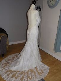 Brand New Ivory French Lace Wedding Dress (size 10/12)