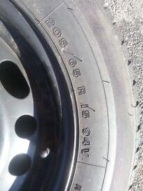 Firestone tyre on steel rim 205/65/R15.
