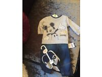 3-6 months baby boy Mickey Mouse set with shoes