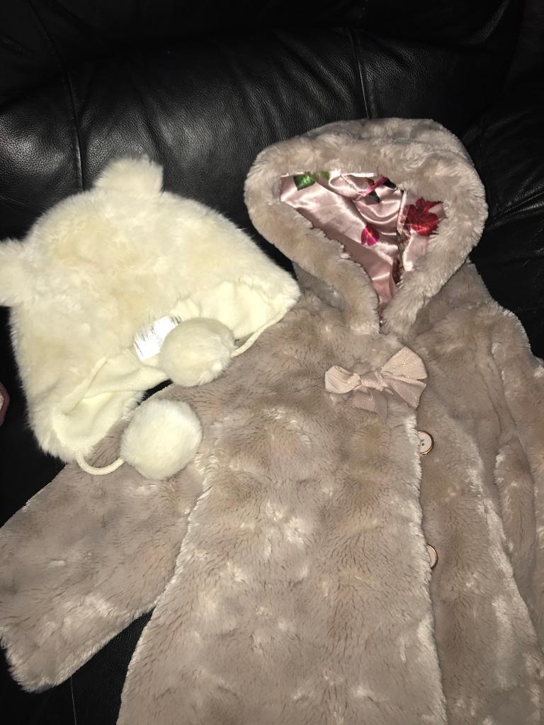 Toddler/Girls fur Ted Baker coat/jacket 2-3yrs