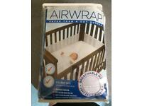 White Airwrap safe breathable cot bumpers