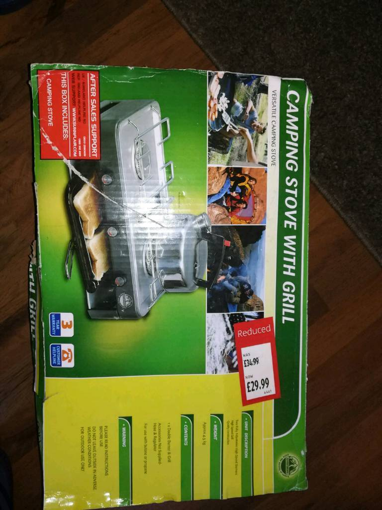 Camping stove with grill double burner