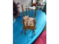 Pine miniature rocking chair for teddy bears or dolls. Very beautiful with lots of detail