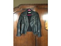 Ladies leather biker jacket 'Whistles' size 14