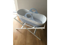 Moba Moses Basket New Born Crib Baby Bed and John Lewis Stand