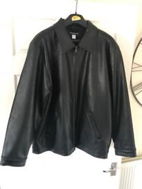 Men's large leather look jacket