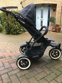 Phil and Ted Double Buggy Dot black with cacoon