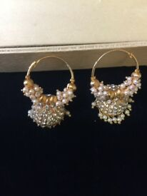 Asian designer Bollywood jhumka style with moti
