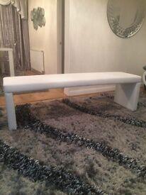 Sofa - white leather new sofa bench