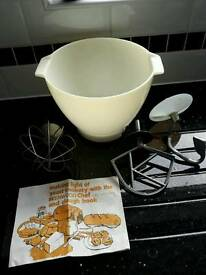 Kenwood A901 mixer baking accessories, bowl, dough hook, K beater and balloon whisk