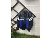 Men's leather motorcycle jacket.