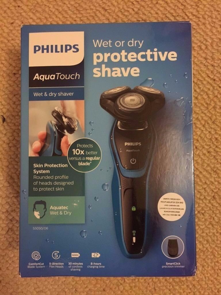 Philips Aquatouch 5000 Series (S5050/06) Electric ShaverWet and Dryin Harborne, West MidlandsGumtree - Philips Aqua Touch S5050/06 Electric shaver for sale. Brand New in Original Box with accessories as shown in the pic. The box is opened to check the contents and make sure that it is working. 2 Years Philips Guarantee Cordless Comes with a Smart...