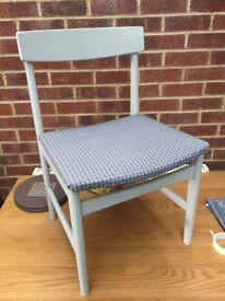 Upcycled Retro Style Geometric Upholstery Storm Grey Chair