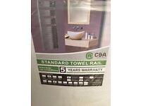 Standard Chrome Curved Towel Rail Radiator 500 x 800 mm (15), Brand new in the box, 5 year Warranty