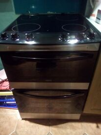 Black & Stainless steel Zanussi Double oven cooker with Ceramic Hob