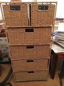 Wicker 6 drawer storage unit Tall Unit