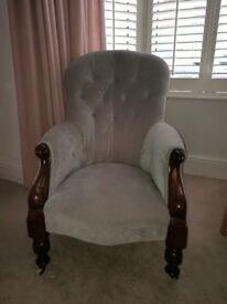 Button back victorian arm chair