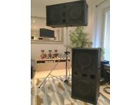 PA Speakers and Stands 200w each (2x Celestion G12H-100 in each)