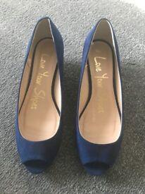 Ladies Blue Suede Wedge Heels