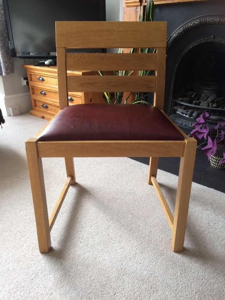 4 solid oak retro dining chairs