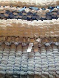 Hand knitted baby boys pram or crib blanket med size fit most prams