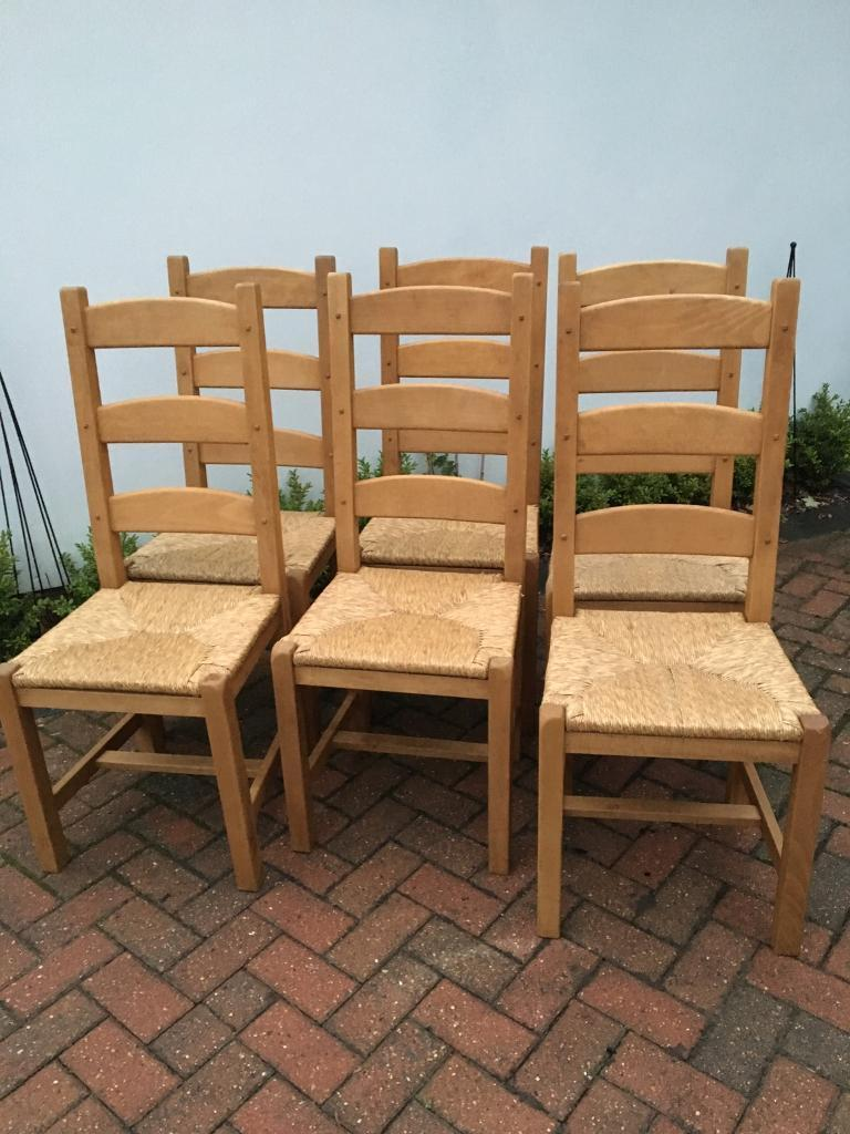 Now sold 6 x solid pine wood ladder back woven rush seat dining chairs