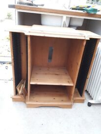 Pine cabinet for music system and cd storage