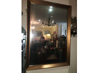 Attractive Large Vintage Rustic Bronze Wood Rectangle Bevelled Mirror