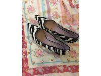 Next zebra shoes low heel size 8. Excellent condition. Been worn twice