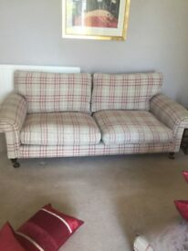 Red check laura Ashley 3 seat sofa reduced £100 for quick sale