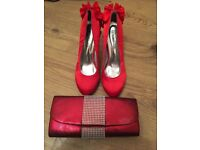 Red clutch bag and size 5 heels - used once!