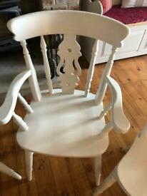 Pair of beech Fiddle back Carver chairs