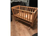 Mamas and Papas natural oak rocking crib in excellent condition
