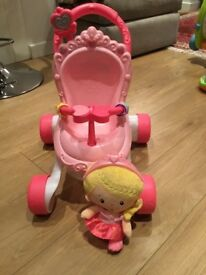 Fisher price princess musical pushchair and doll