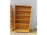 Vintage retro solid oak Danish antique book case shelves