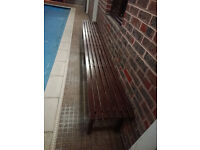 3m WOODEN BACKLESS BENCH - STURDY SWIMMING POOL ROOM FURNITURE - Hornchurch, RM11