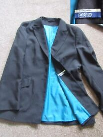 Size 12 black ladies jacket NEXT - pretty silver discreet stripe - used -vgc