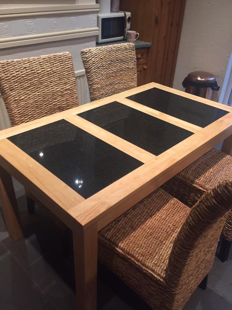Light oak/black granite Table