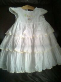 Disney Christening dress, 9 -12 months, white with embroidered bunny on the front