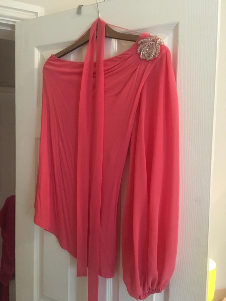 Ladies coral long top size 10