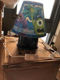 Monsters inc child's bedside safety lamp & clock