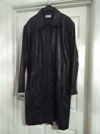 Real black leather long length coat